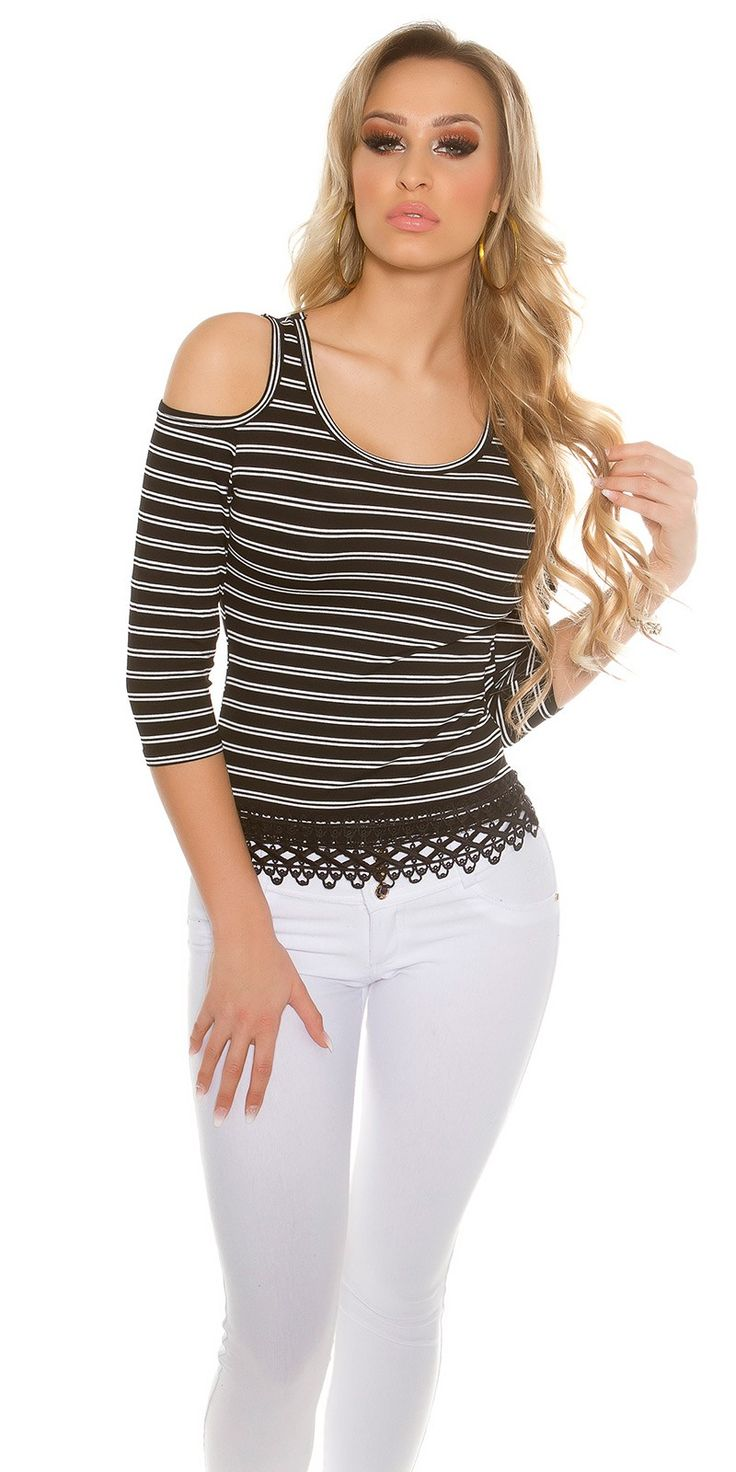 Stripe Cold Shoulder 3/4 Sleeve Top - Koucla - Fashionhub Tops Online. Online Shopping South Africa. Ladies Tops. Women Fashion. R799.00 http://fashionhub.co.za/stripe-cold-shoulder-3-4-sleeve-top-by-koucla.html