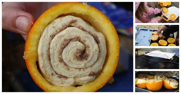 Cook cinnamon rolls inside of oranges for a sweet camping breakfast :-)