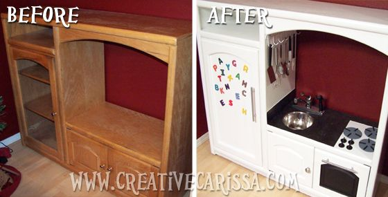 How to Make a DIY Play Kitchen Part 1: Selection and Prep of a Great Entertainment Center ~ Creative Green Living ~ Some helpful tips and Ideas to get your creative juices flowing.