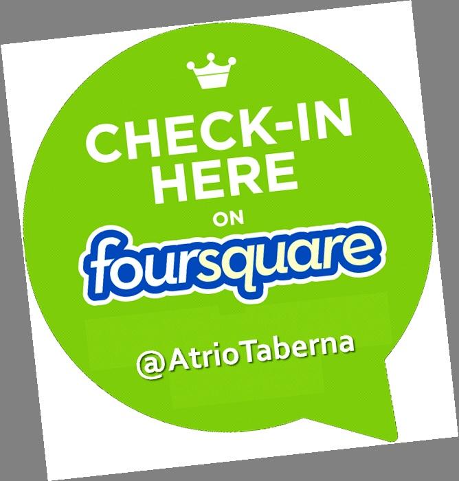 Sigue nuestras promociones en Foursquare.   https://es.foursquare.com/atriotaberna