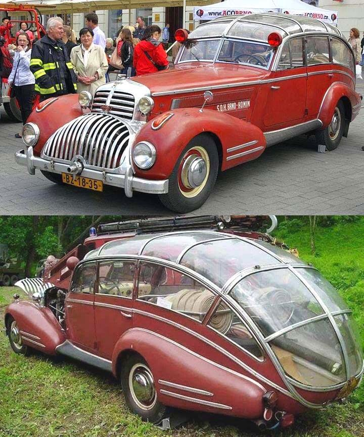 1941 Horch 853 Sportcabriolet modified for firefighting in Brno, Czechoslovakia. Purchased November, 1945, it was designed by T. Lepil to hold six persons and the bodywork was performed by the firefighters 1946-49