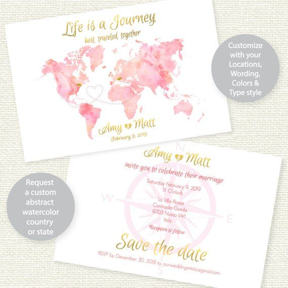 Travel theme save the date postcard invitation printable