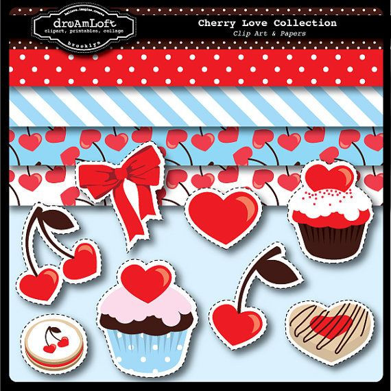Cherry Love Clip Art and scrapbooking papers