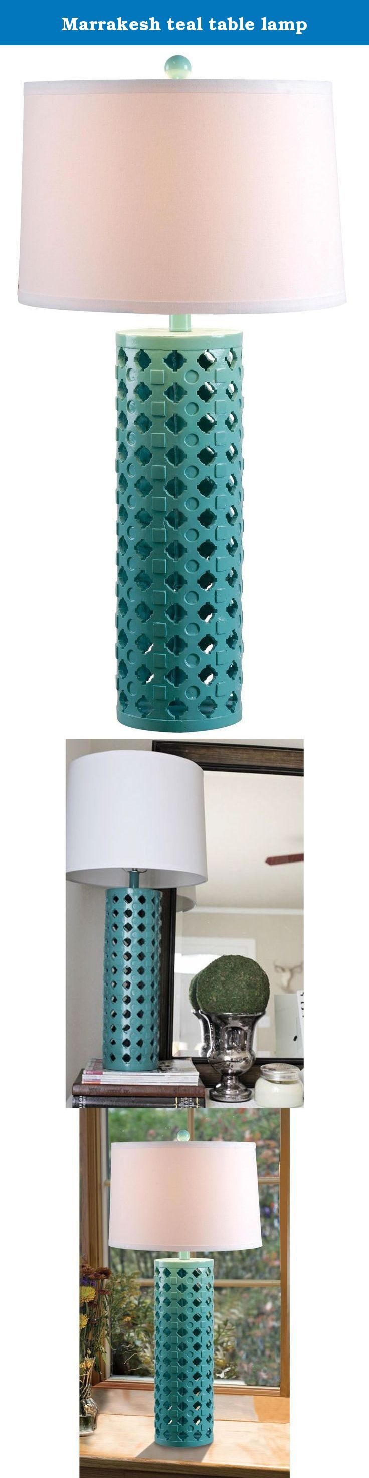Marrakesh teal table lamp. Marrakesh showcases its Moroccan spirit in a pattern of indents and inlay adorning an openwork cylindrical base. Available in 2 contrasting finishes. 15-inch diameter white tapered drum shade tops this lamp. Uses one 150-watt three-way bulb with a three-way socket switch.
