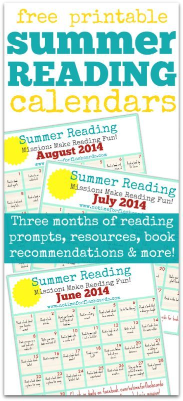 Download free printable Summer Reading Calendars from No Time for Flashcards.