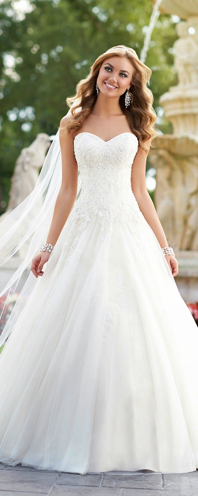 Fancy Fit and Flare Strapless Lace Wedding Dress with Beaded Belt