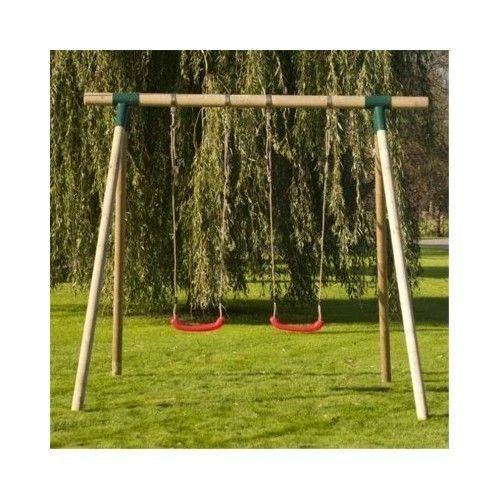#Childrens #Garden #Swings #Wooden #Double #SwingSet #2Seats #Kids #Outdoor #Playground