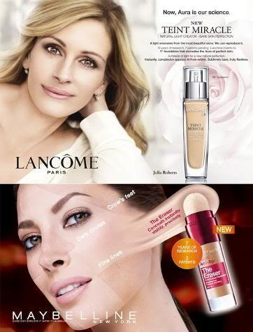 In this Lancome and Maybelline ad we are deceived and manipulated into believing that the product will make us look as good as the women in the picture. Advertisements love to use famous celebrities that people love in order to get them to buy their product. We as consumers are more likely to trust someone we think we know rather than anyone else.