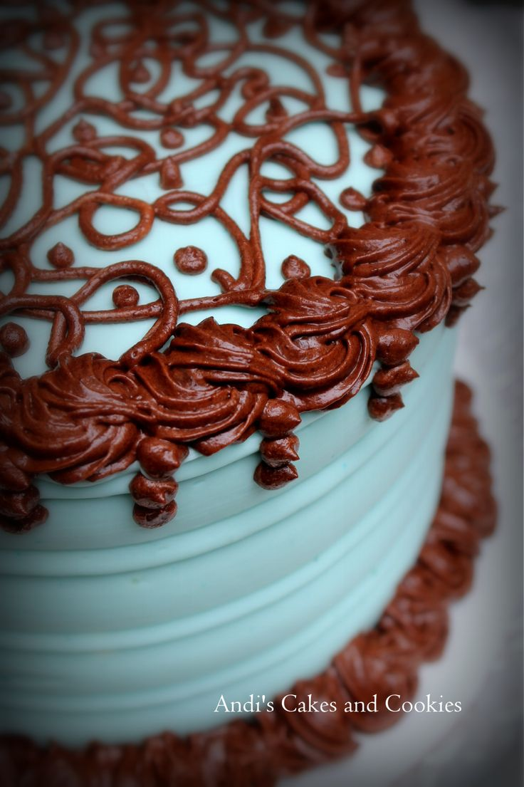 A 6 Inch Chocolate Cake With Chocolate Mousse Decorated