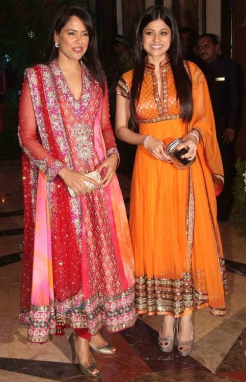 Sameera and Shamita in Designer Anarkali