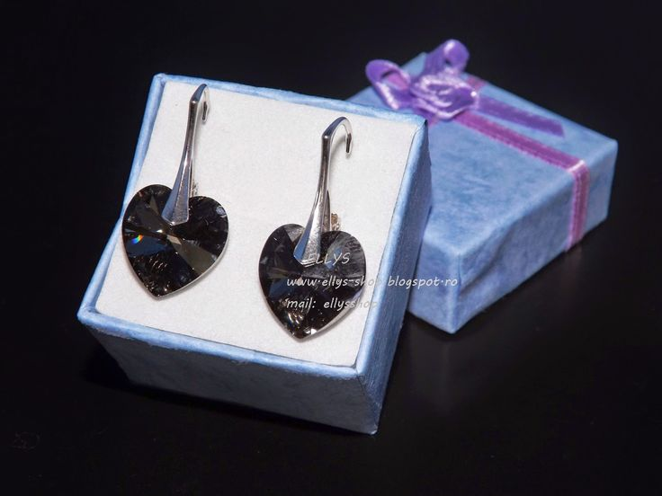 Ellys Shop: Cercei argint si cristale swarovski inimi silvery ...