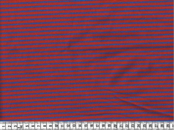 Stof, Økotex jersey i striber, rød/blå pr. 0,25 m. - STOF og STUFF - kreativ livsstil | Stof, metervarer og tekstiler.