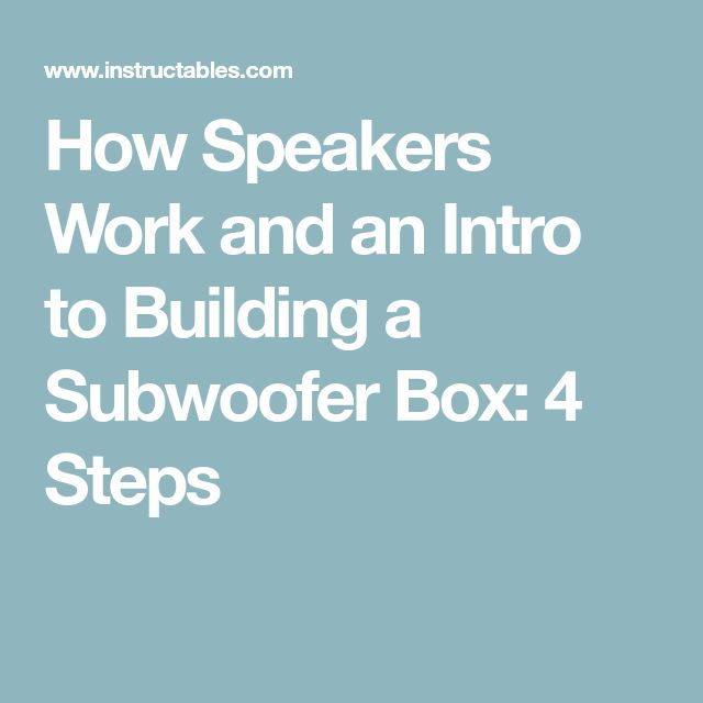 How Speakers Work and an Intro to Building a Subwoofer Box: 4 Steps