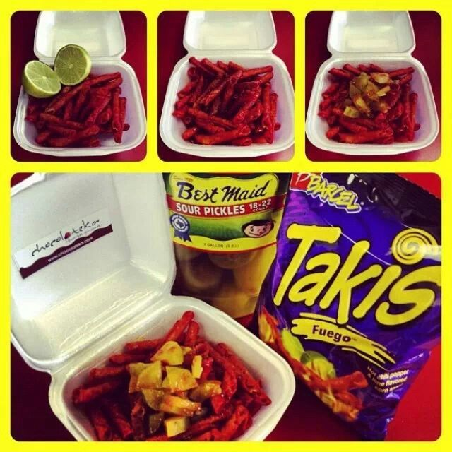 "Takis ""preparados"" lime chamoy chopped pickles no need for chilito"