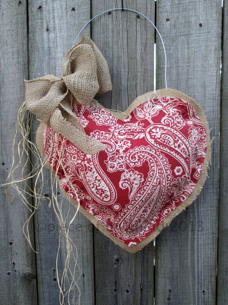 IMMEDIATE SHIPPING Valentine Day Burlap Door Hanger Damask Heart. $28.00, via Etsy.