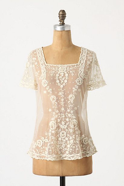 oh if only I could pair this with my tan leather boots, jeans, a cute belt, and my burgandy floppy hat!!: Lace Tops, Lace Blouses, Style, So Pretty, Serissa Tulle, White Lace, Sheer Blouses, Wear, Tulle Blouses