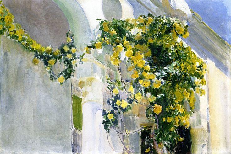 The Yellow Rosebush of the Sorolla House  Joaquin Sorolla y Bastida -