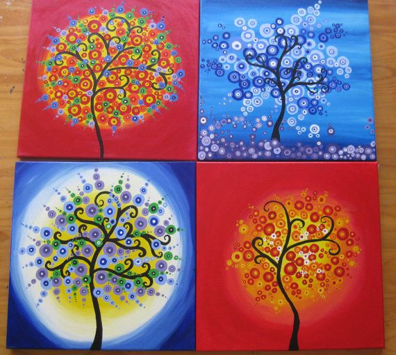 large huge painting set of 4 paintings wall art tree of life circles bright rainbow colors colourful colorful happy wall trees custom circle