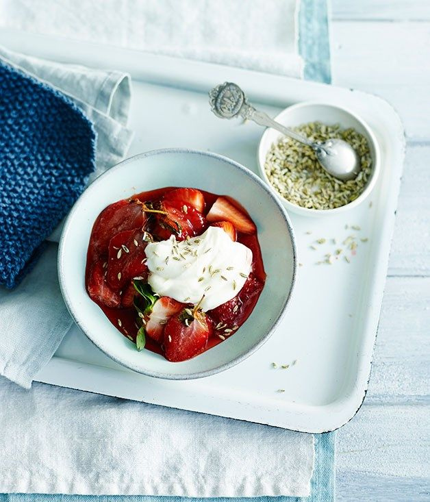 Roast strawberries with creme fraîche and candied fennel seeds