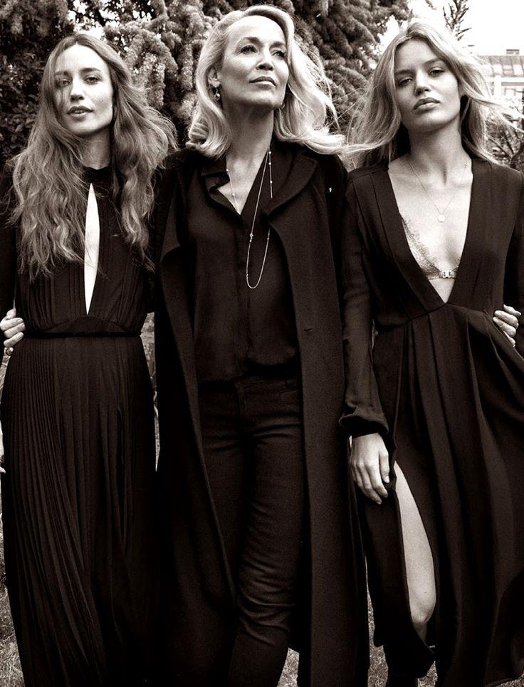 Jerry Hall, Lizzy Jagger & Georgia May Jagger. Yelena Yemchuk. Fashion dynasty. Elle.