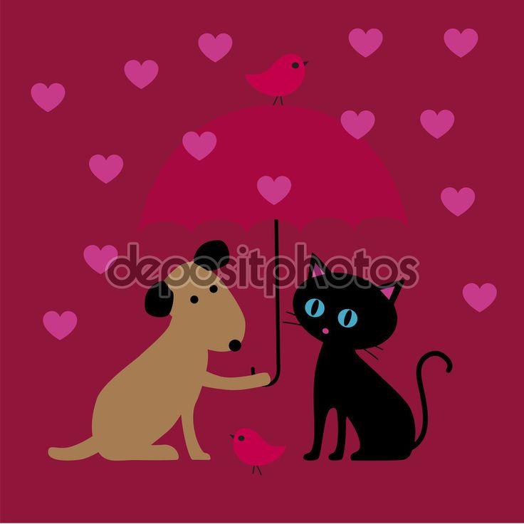 Валентина кошка и собака - Векторная картинка: 97166990