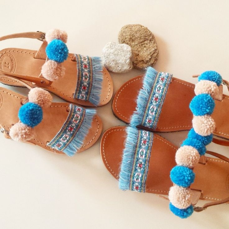 "Baby Blue ""Daphne"" Fringe Leather Sandals, Pompom Sandals, Girls Sandals, Greek Leather Sandals, kids shoes by GlowHandmade on Etsy"