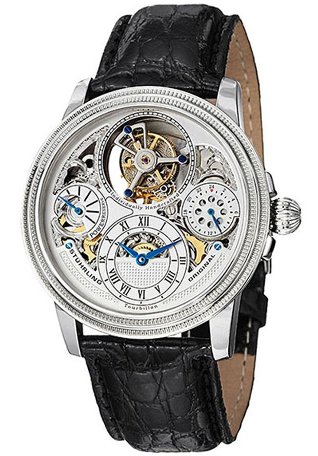 Stuhrling Original 213T.331X2, Stuhrling Original presents the Saturnalia tourbillon. With a double barrel movement, this tourbillon watch runs for approximately 72 hours, and the dial displays a power reserve indicator at 9 o' clock. At 3 o' clock is a 24 hour indicator, and the tourbillon itself is at 12 o' clock. The strap is genuine crocodile, and is secured with a dual deployment clasp.