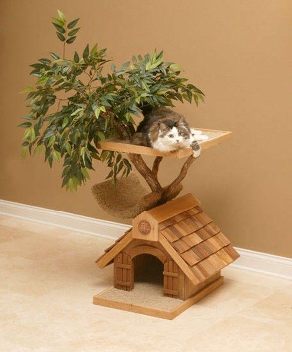 cutest cat houseHouse Design, Cat Towers, Tree Houses, Trees House, Pets House, Cat Trees, Cat House, Cathouse, Logs Cabin