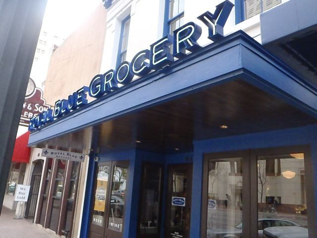 Royal Blue Grocery awning sign