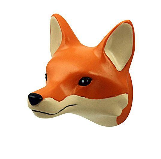 Mooi klein kinderkapstokje in de vorm van een vossenhoofd; leuk te combineren met de andere bosdieren kapstokjes van the Zoo.