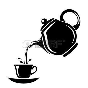 pochoir: Silhouette noire de théière et tasse illustration                                                                                                                                                      Plus