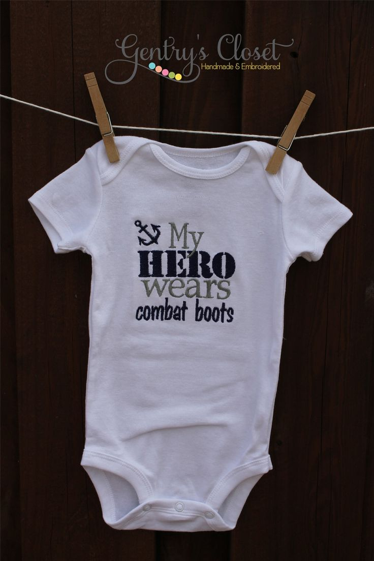 "Girl or Boy Onesie or t-shirt - US Navy ""My Hero Wears Combat Boots"" with anchor. Embroidered Infant Bodysuit. Soldier, Military. Handmade"