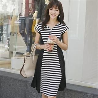 Color-Block Stripe A-Line Dress from #YesStyle <3 ode' YesStyle.com.au