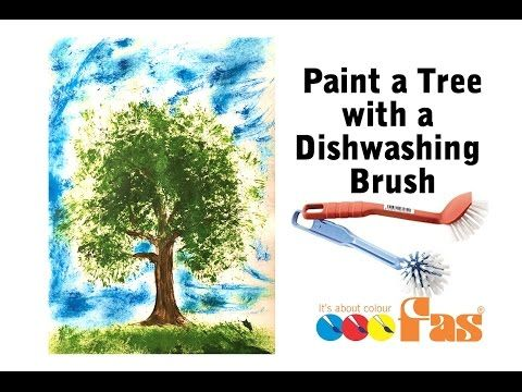 (2) How to Paint a Tree using a dishwashing brush and FAS Super Tempera School Paint - Kids Art Lesson - YouTube