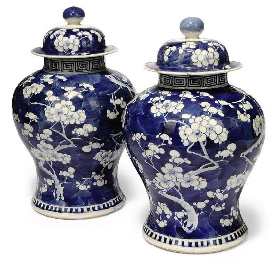 19th Century Chinese Blue and White Prunus Vases and Covers – $1,600-$2,300