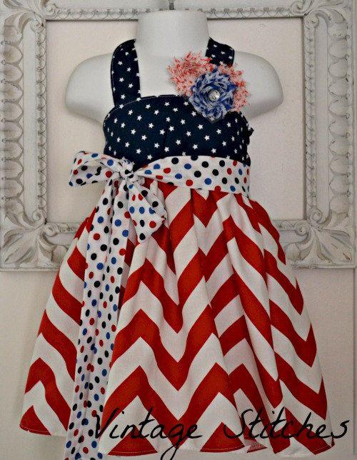 Vintage Stitches 4th of July Halter Dress - girls dresses - Chevron Dress - 4th of July Dress - 12m 18m 2T 3T 4T - Chiffon Flower Hair Clip