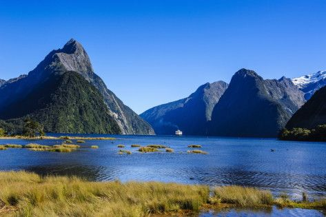 Cruise Ship Passing Through Milford Sound Photographic Print by Michael at AllPosters.com
