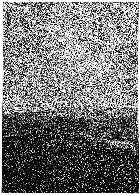 Milos Slama - In the desert - (linocut)