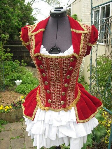 Circus costume. Beautiful red and gold bodice for ballet.