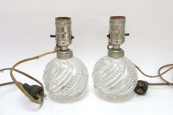 Petite Clear Glass Boudoir Lamps / Vintage Set of Two Round Glass Lamps / Pair of Dresser Lamps