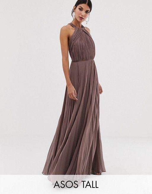 317bb05f0ef DESIGN Tall pleated bodice halter maxi dress in 2019