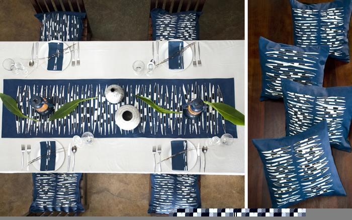Hand painted 100% cotton indigo quills runner, napkins and cushions