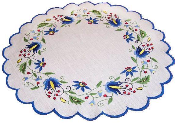 Folklor Kaszubski - Haft Kaszubski  Kolory: trzy niebieskie, czerwony, zolty, zielony, czarny  Motywy: roslinne. Granaty, gwiazdy morskie, roze, tulipany, margarity, niezapominajki