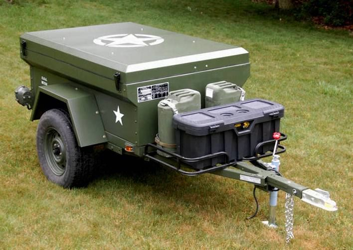Military paint scheme on the prototype Dinoot M-Series M416 Trailer.  This a…