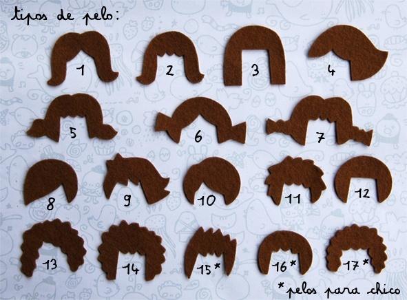 Coiffures en feutrine - Peinados en pañolenci.