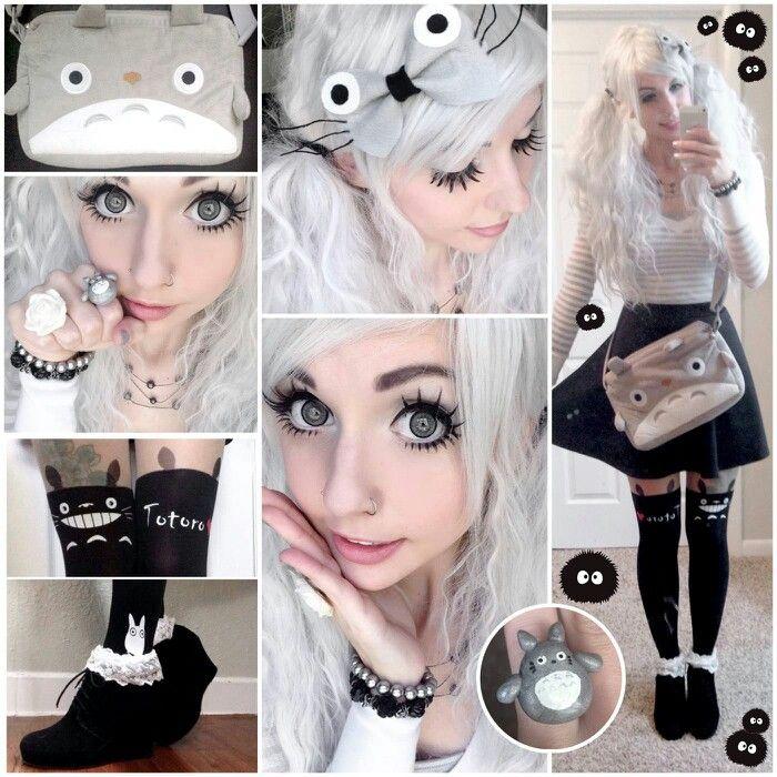 Alexa Poletti's Totoro (My Neighbor Totoro) inspired makeup, wig and clothing.