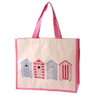 Beach Hut Cotton Bag Pink
