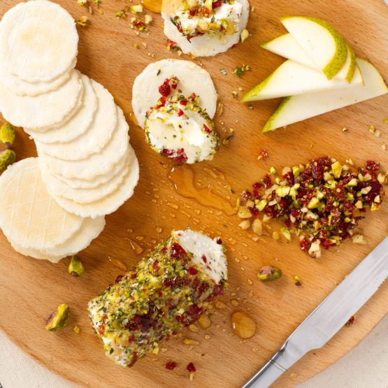 Goats cheese log with cranberries, nuts, herbs and honey by Nadia Lim | NadiaLim.com