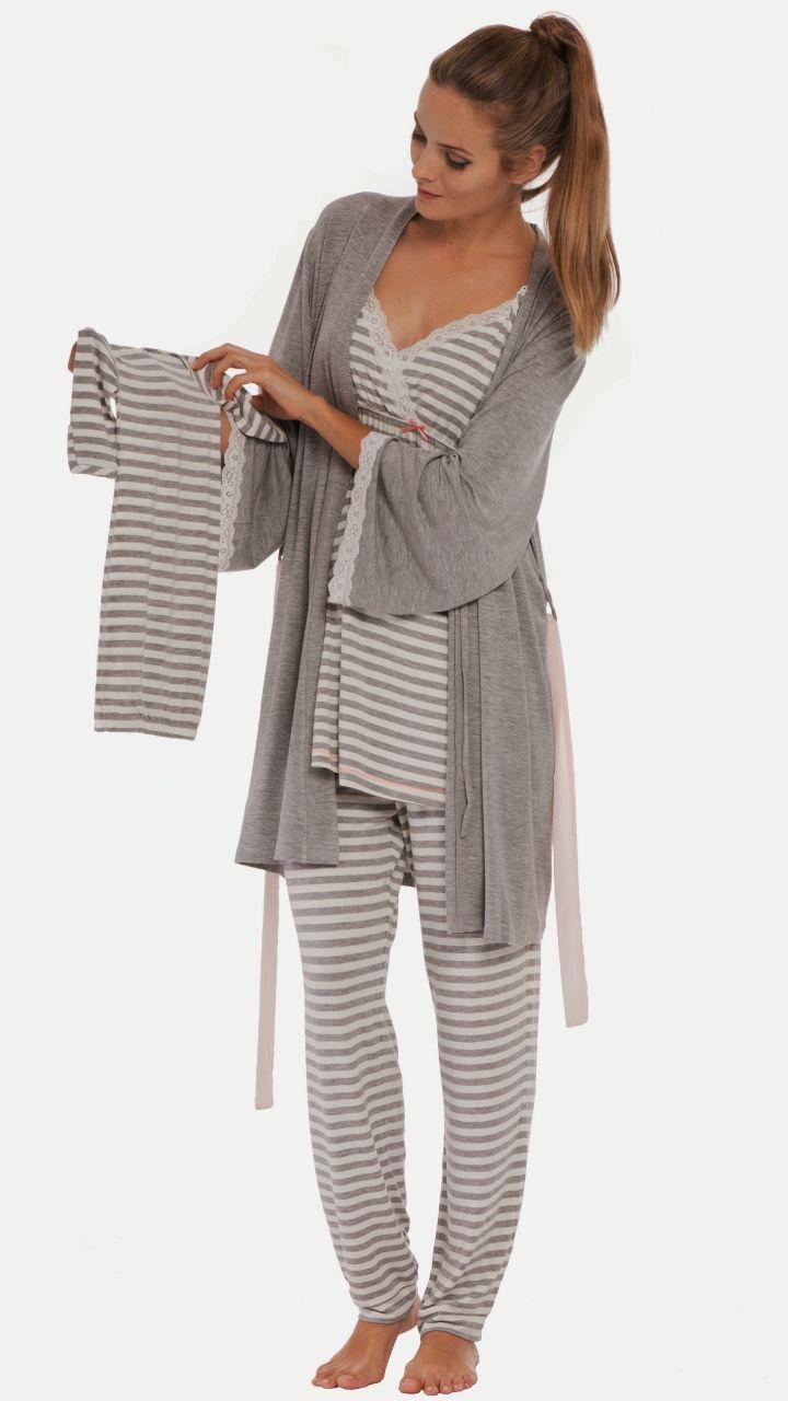 Take Me 2 The Hospital Set Grey Stripe Maternity