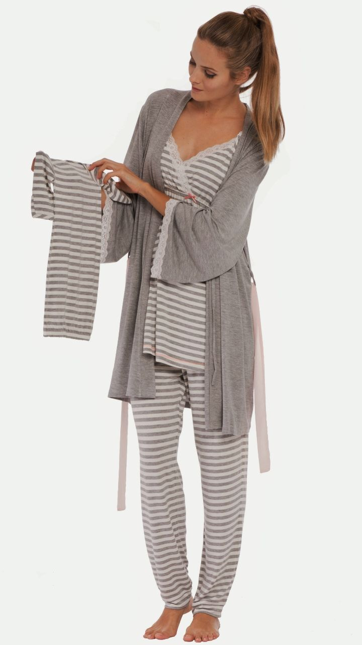 Olian Anne Grey Striped Cami Maternity Nursing Pajamas - BellaBluMaternity.com